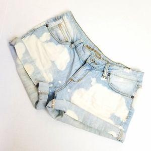 Retro vintage style acid wash denim shorts